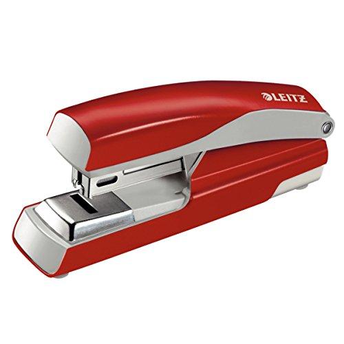 Leitz Flach-Heftgerät, 30 Blatt, Rot, Metall mit Kunststoffelementen, Inkl. Heftklammern, New NeXXt, 55050025