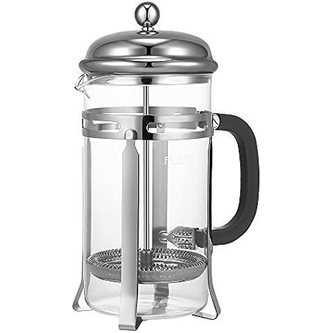 Plemo Cafeteras de émbolo para Cáfe y té con Material Vidrio y Acero Inoxidable, 1 Litro