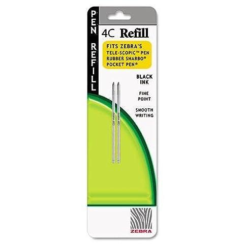 Zebra - Refill for 4C Pocket Pen, Fine, Black Ink, 2/Pack - Sold As - Acid-free, archival quality. by Zebra