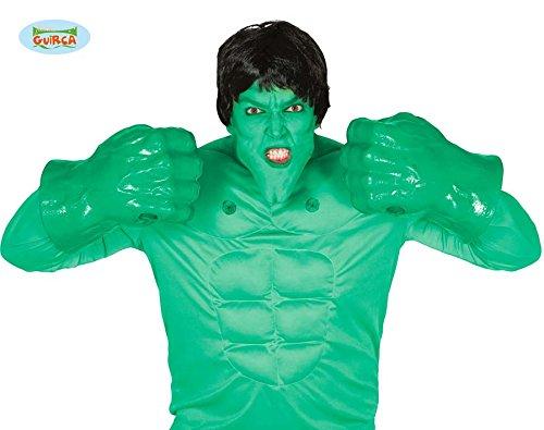 FIESTAS GUIRCA Guantes de plástico Grandes golpea a Hulk Verde tamaño Adulto manone