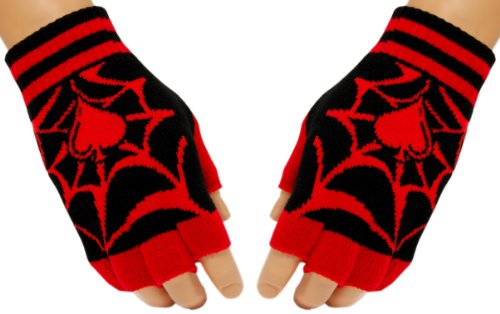 Schwarze Fingerlose Handschuhe Spinnennetz (Spinnennetz Fingerlose Handschuhe)