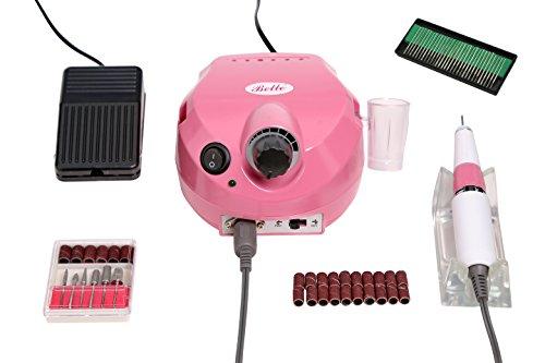 Belle Pink Electrique Ponceuse à Ongles Drill Manucure Pédicure Professionnel avec 6 Embouts Ponçage + 30 Piece Electrique Ongle Drill Bit SET 3/32 Fichier Shank pour Acryliques, Gels, ongles naturels