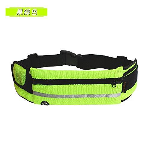 KANG@ Sport Taille Pack Multifunktions Running Männer und Frauen Outdoor Handy Tasche Anti-Diebstahl intime Stealth wasserdicht Beutel Frucht grün Luft