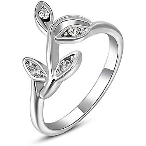 Bling fashion 18K Placcato Oro Bianco Anello con diamante Little foglie anello