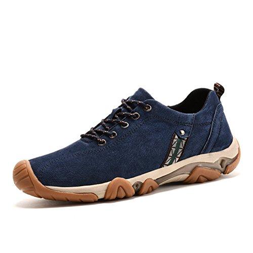 ailishabroy Herren Imitation Suede Leder Schuhe Mode Aufzug 2.36 Zoll Flats Man Schnüren Beiläufig Herrenschuhe Sneaker (39 EU, Blau)