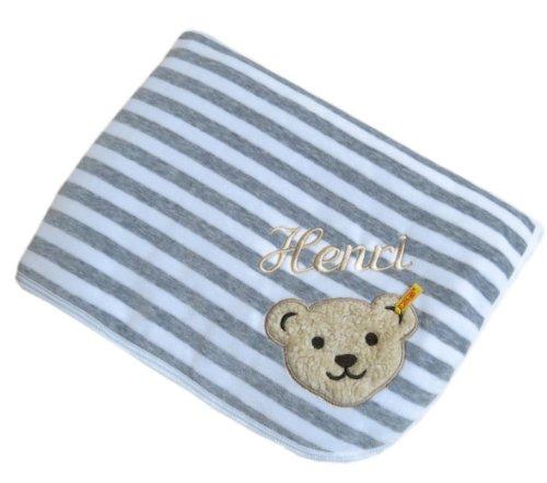 Babydecke mit Ihrem Wunsch-Namen bestickt grau/weiß 90 x 60 cm Steiff Collection 2890 (Buchstaben Gesteppte)