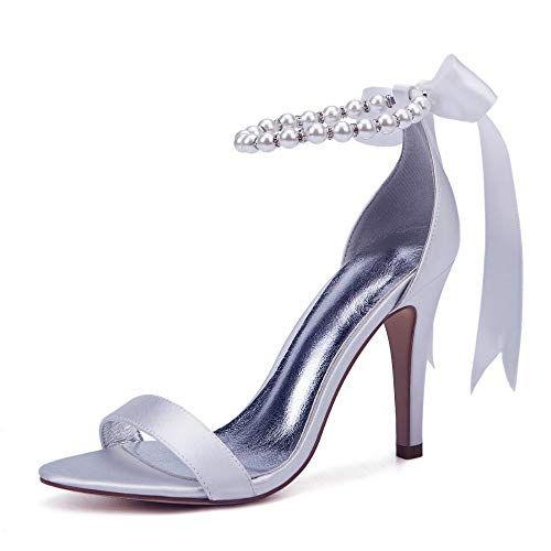 AIMISHOES Pearl Decoration Bride Wedding Shoes Fashion Shoes for Woman Ankle Strap Party Dress Shoes Open Toe High Heels Pumps Female Sandals,White,39 -