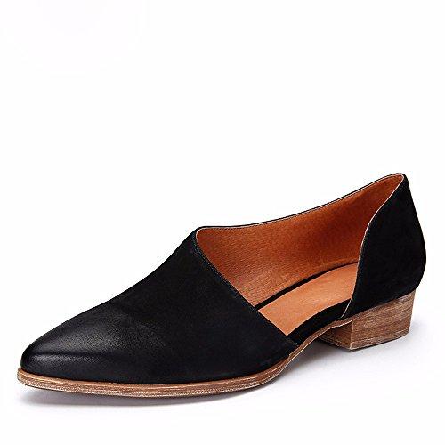 Khskx-black 2.5cm He Shoes With Low Heels Shoes Cuero Hecho A Mano Sharp And Sandals., Treinta Y Treinta Y Nueve