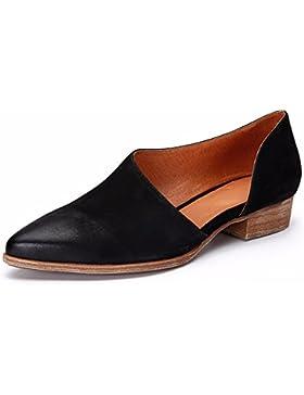 KHSKX-Negro 2.5Cm Señaló Zapatos De Tacon Bajo Primavera De Zapatos Y Sandalias Cuero Lado Afilado Treinta Y Ocho