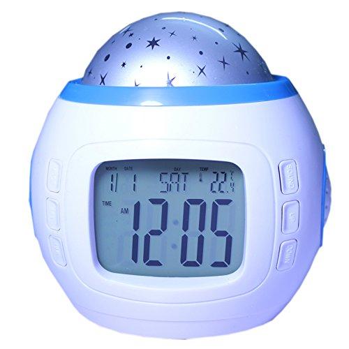 LED Sternenhimmel Kinderwecker mit Sternenhimmel Kalender Thermometer Wecker