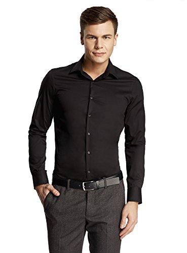 oodji Ultra Hombre Camisa Básica de Manga Larga, Negro, 39cm / ES 46 / S