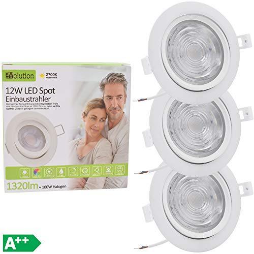 3x Evolution LED foco empotrable techos 12W 1320lm