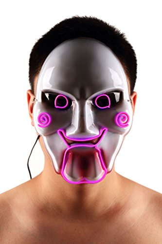 Brinny EL Wire Drahtmaske Leuchten Maske LED Leucht Leuchtmaske Make Up Partymaske mit Batterie Box Kostüme Mask Weihnachten Tanzen Party Nacht Pub Bar Klub 18