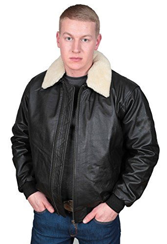 A1 FASHION GOODS Männer Echtes Schwarzes Leder Pilotenjacke Aviator Air Force Top Gun Stil Mantel - Will (M - EU 48) -