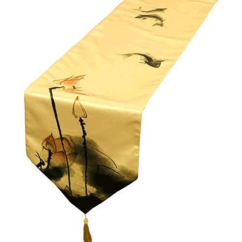 Chemin de table Chemin de table Soie Étanche Tissu Table Coureurs pour la Fête D'anniversaire De Vacances Hôtel Lit Café Table À Manger En Plein Air Partie Décor (taille : 33×200cm)