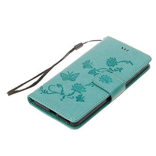 Hülle für Sony Xperia E5, Tasche für Sony Xperia E5, Case Cover für Sony Xperia E5, ISAKEN Blume Schmetterling Muster Folio PU Leder Flip Cover Brieftasche Geldbörse Wallet Case Ledertasche Handyhülle Lotus Schmetterlinge Grün