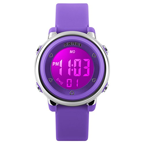 BesWLZ Digital Watch Outdoor Sports Kids LED Alarm Stopwatch Childrens Dress Wristwatches Purple