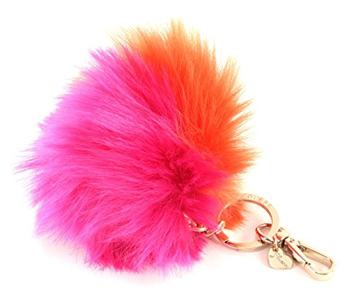 GUESS Pom Pom Gifting Key Fob Charm Pink Orange