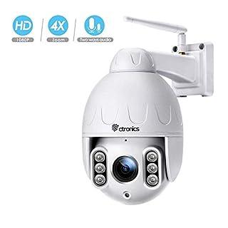 PTZ IP Dome Kamera Aussen, Ctronics überwachungskamera WLAN Outdoor, 4-Fach optischem Zoomobjektiv, Zweiwege-Audio 50m IR-Nachtsich, IP65 wasserfest, Bewegungsmelder, Unterstützung von 64GB SD Karten