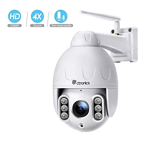 PTZ IP Dome Kamera Aussen, Ctronics überwachungskamera WLAN Outdoor, 4-Fach optischem Zoomobjektiv, Zweiwege-Audio 50m IR-Nachtsich, IP65 wasserfest, Bewegungsmelder, Unterstützung von 64GB SD Karten Ptz-kamera