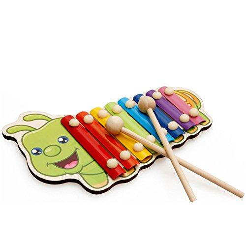 AchidistviQ Holz-Handklopfen mit Musik, Tier-Xylophon, 8 Tasten, Instrument Perkussion, Kinderspielzeug Raupe