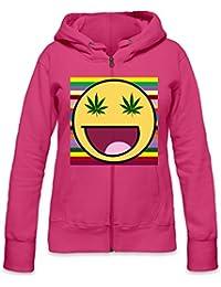 Smile Marihuana Eyes Slogan Womens Zipper Hoodie