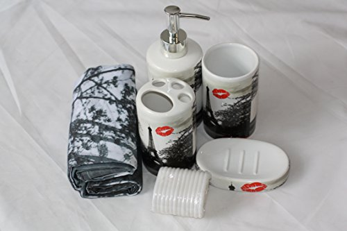 Designer bagno Set 17pezzi bagno Dispenser per sapone WC tenda da doccia 4modello PARIS (Designer Dispenser)