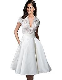 Haroty Vestidos Encaje Escote V Patchwork Bodybcon Ajustados para Mujeres Verano Wedding Boda Novia Fiesta Noche