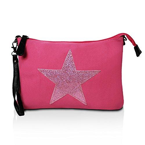 Stern Schultertasche mit Umhaengetasche Pink DeerDeer Muster Damen Tragetasche 23078 Tasche XIxAqTqw