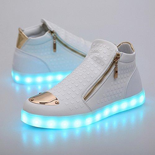 Acmebon Scarpe Caviglia Alta Unisex Moda 7 colori Led Scarpa Luminosa Ricaricabile Luce Colorata Brillante Tempo Libero Scarpe Lampeggianti Scarpe Casuale Bianco
