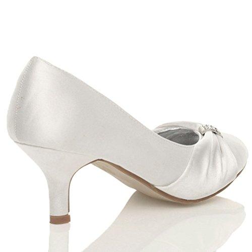 Femmes talon bobine moyen élégant mariée soirée chaussures de mariage escarpins Blanc