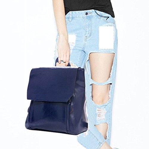 Lässige Vintage-Rucksack PU-Leder-Laptop-Schulter-Beutel-College-Daypack Für Frauen Multicolor Blue