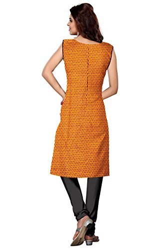 Nakoda Creation Women's Unstitched Cotton yellow Printed Kurti Fabric (Fabric only for...