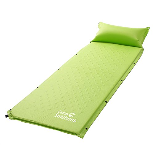 Camp Solutions Autogonfiabile Mat aria di sonno con il cuscino - L185 leggeri x L60 x H2.5 cm 1kg Verde
