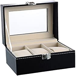 HOUSWEETY Watch Box for 3 Watches PU Large Compartments Transparent Window Soft Cushions Black