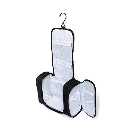 Trousse de toilette XL à suspendre par Nomalite | Vanity case femme grand format, souple et noir. Grande trousse, idéale pour maquillage ou pharmacie, avec compartiment détachable pour le voyage.