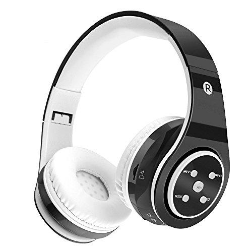 Kinderkopfhörer drahtloses Bluetooth - sicheres Volumen begrenzte 85dB Kinder über Ohr-Kopfhörern, lange Spieldauer, Sd-Karten-Schlitz, Stereoton, kompatibel für Ipad-Mobiltelefon-PC-Kindle Kind (Schwarzes) - Tekcol