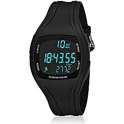 CFGem Adolescente Digital Deporte Impermeable Reloj de Hombre con PU Banda Desmontable de Plástico y Minutero SNK-9105 Negro