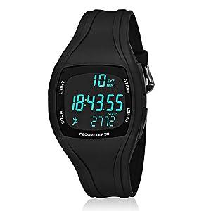 CFGem Teen's Uhr Digitaler Sport Wasserdichte Schrittzähler mit PU-Kunststoff abnehmbar Armband SNK-9105 Schwarz