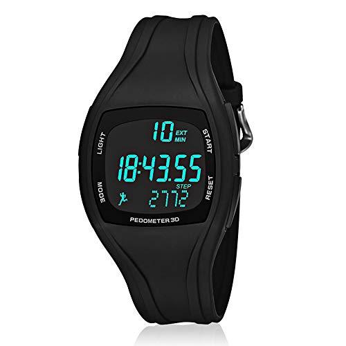CFGem Teen\'s Uhr Digitaler Sport Wasserdichte Schrittzähler mit PU-Kunststoff abnehmbar Armband SNK-9105 Schwarz