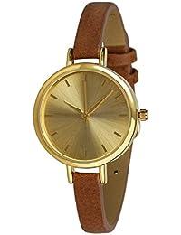 """SIX """"Geschenk"""" klassische Damen Armbanduhr mit großem goldfarbenen Gehäuse schmalem braunem Armband (274-318)"""