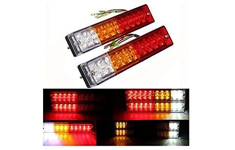 2x 20-LED Car Truck LED Trailer Tail Lights Turn Signal Reverse Brake Light, Stop Rear Flash Light Lamp, DC12V Red-Amber-White, Waterproof IP65 (Pack of