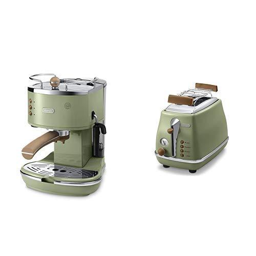 De\'Longhi ECOV 311.GR Espresso-Siebträgermaschine (1100 Watt) & De'Longhi CTOV 2103.GR Toaster Icona Vintage, olive