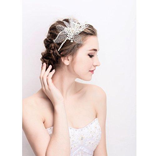 Vintage Elfenbein Tüll Bridal Tiara Strass Perlen Haarreif Hochzeit Prom Haarschmuck - 5