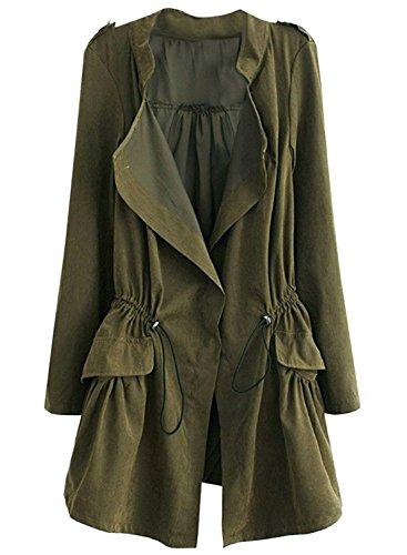 Futurino Damen Open Front Lightweight Trench Coat, Olivgrün, M (Open-front Lightweight Cardigan)