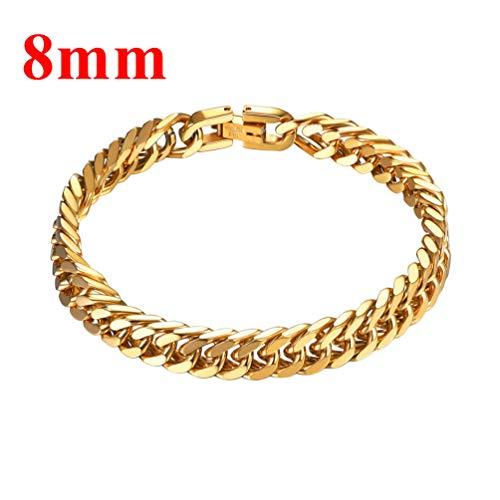 Imagen de prosteel joyería pulsera de hombre pulsera para hombre 21cm de cadena cubana de acero inoxidable brazalete metal de hombre 8mm, dorado  alternativa
