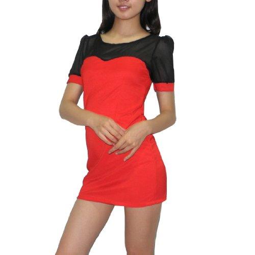 Damen Thai Exotic Sexy Stretchy Fit Short Sleeves Mini Dress Rot & schwarz