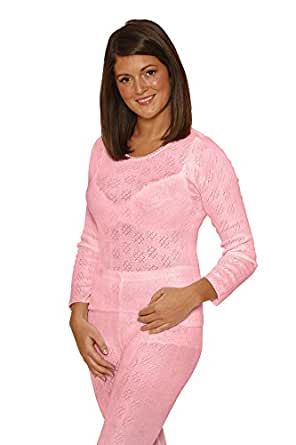 OCTAVE® Ladies/Womens Thermal Underwear Long Sleeve T-Shirt/Vest/Top (XS: Bust 30-32 inches, Pink)