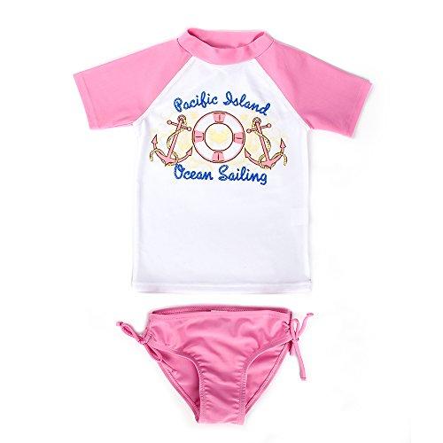 Estamico Kleinkind Mädchen Sommer Bademode Kinder Zwei Stück Badeanzug Set Rash Guard Rosa 2 Jahre (Kleinkind Rash Guard Mädchen)