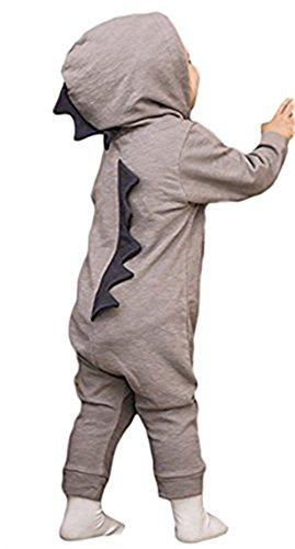 Fueerton Baby Jungen Mädchen Karikatur Lange Ärmel Dinosaurier Strampler Ein Stück Overall Outfits (6-12M, Grau)